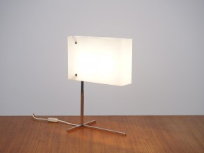 Perspex lamp with chromed square metal structure